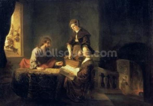 Christ in the House of Martha and Mary (oil on canvas) wall mural