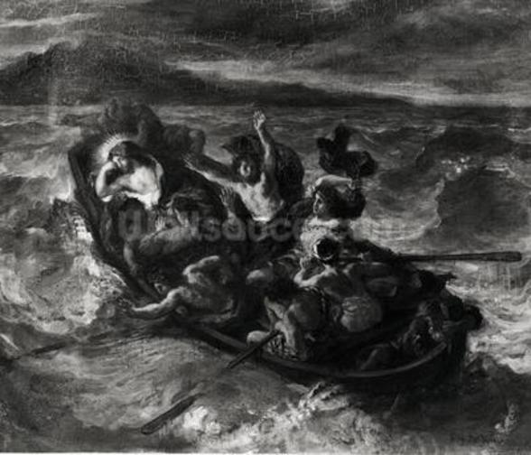 Christ on the Sea of Galilee, 1853 (oil on canvas) (b/w photo) wall mural