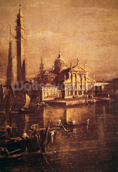 Church of San Giorgio and the Campanile, detail of The Basin of Saint Marks Square, c.1774 (oil on canvas) (detail of 257874) wallpaper mural