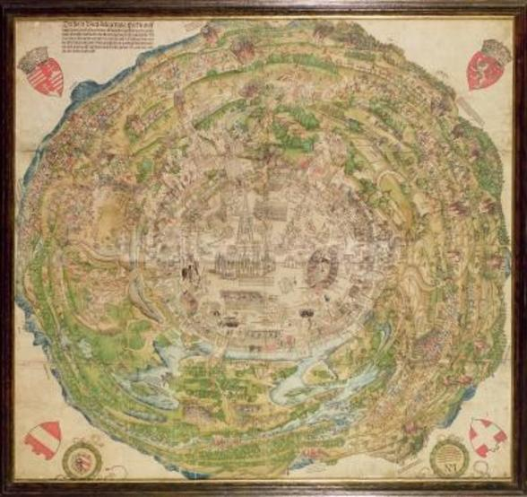 Circular map of Vienna during the Turkish siege, 1530 wall mural