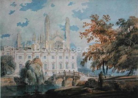 Clare Hall and the West End of Kings College Chapel, Cambridge, from the banks of the River Cam, 1793 (pencil & w/c on paper) wall mural