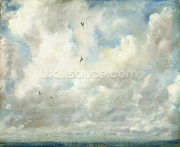 Cloud Study, 1821 (oil on paper laid down on board) wallpaper mural
