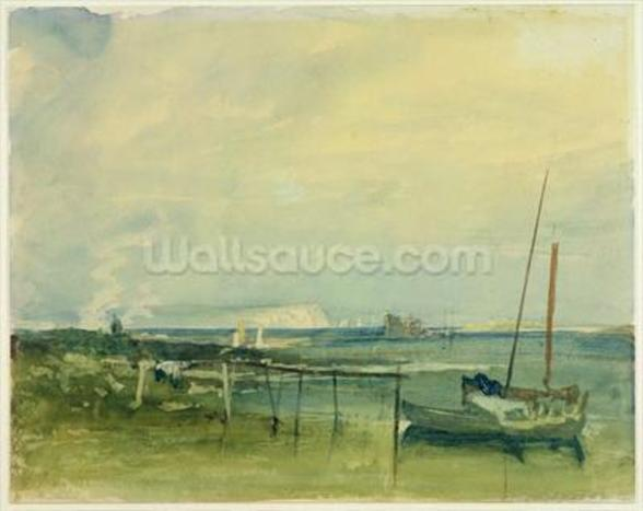 Coast Scene with White Cliffs and Boats on Shore (w/c & graphite on paper) wall mural