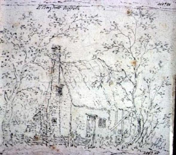 Cottage at East Bergholt (drawing) wallpaper mural