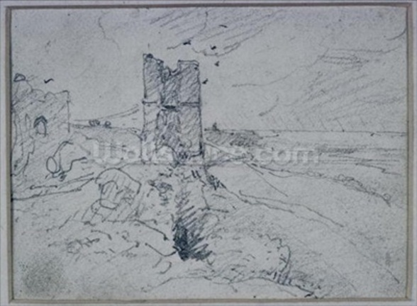 Cottages on a High Bank, 1834 (pencil on paper) wall mural