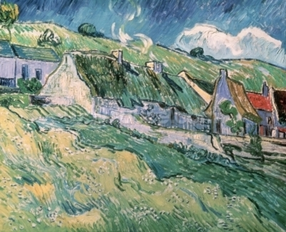 Cottages at Auvers-sur-Oise, 1890 (oil on canvas) mural wallpaper