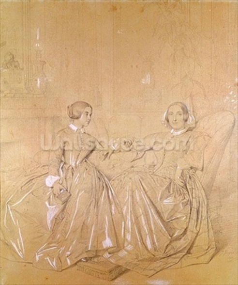 Countess Charles dAgoult (1805-76) and her daughter Claire dAgoult, May 1849 (pencil with white chalk on paper) wall mural