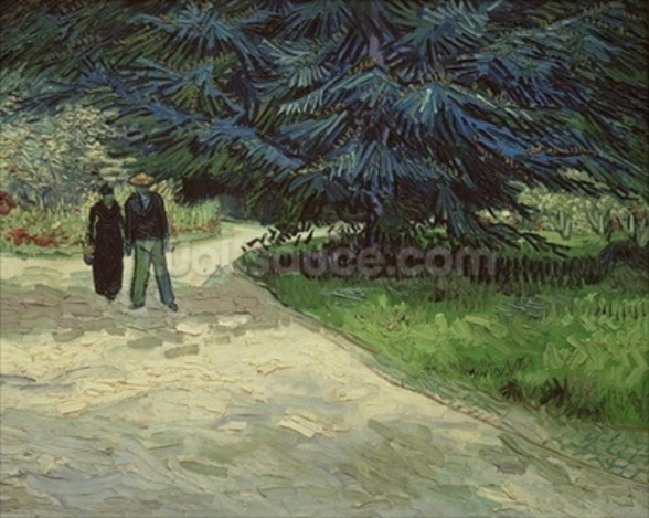 Couple in the Park, Arles, 1888 (oil on canvas) wallpaper mural