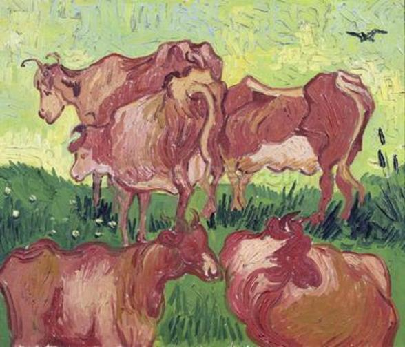 Cows, 1890 (oil on canvas) mural wallpaper