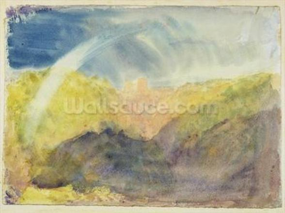 Crichton Castle (Mountainous Landscape with a Rainbow) c.1818 (w/c over graphite on wove paper) wall mural
