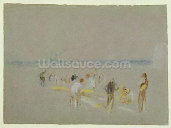 Cricket on the Goodwin Sands (chalk, w/c & bodycolour on paper) wall mural