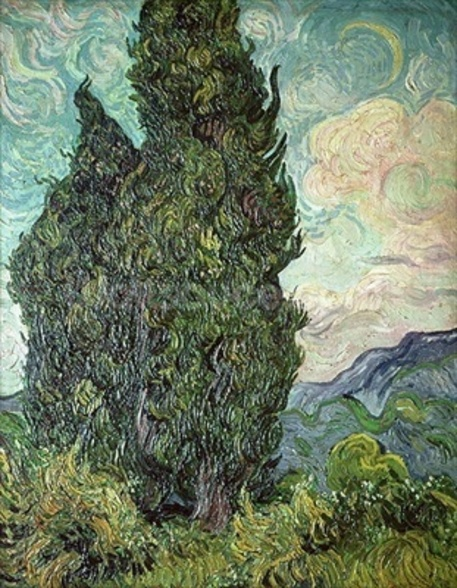 Cypresses, 1889 (oil on canvas) mural wallpaper