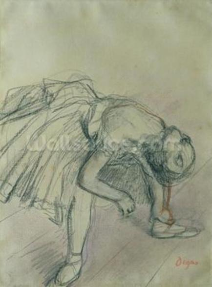 Dancer Fixing her Slipper, c.1865 (charcoal on paper) wall mural