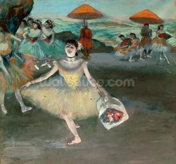 Dancer with bouquet, curtseying, 1877 (pastel on paper) wallpaper mural