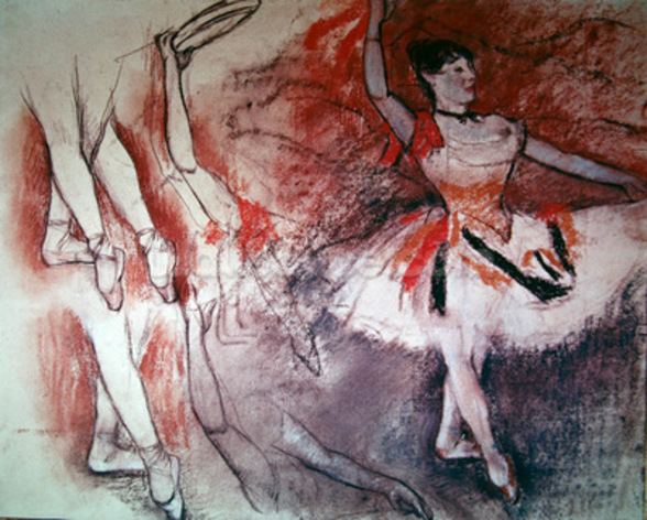 Dancer with Tambourine, or Spanish Dancer, c.1882 (charcoal & pastel on paper) mural wallpaper