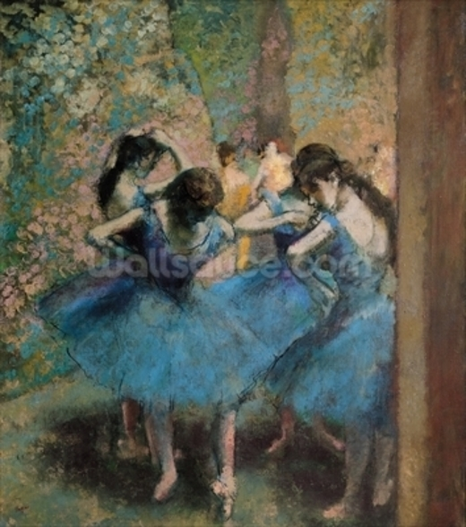 Dancers in blue, 1890 (oil on canvas) wall mural