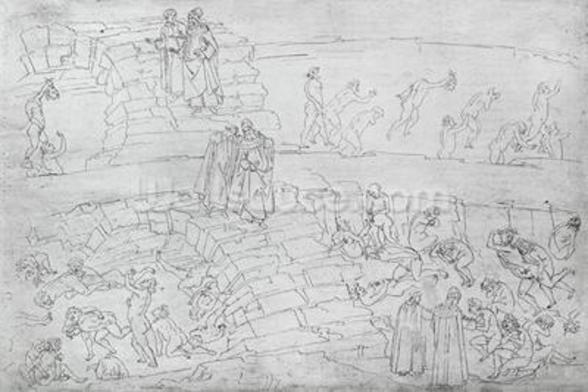 Dante and Virgil (70-19 BC) from The Divine Comedy by Dante Alighieri (1265-1321) c.1480 (pen & ink on paper) wall mural