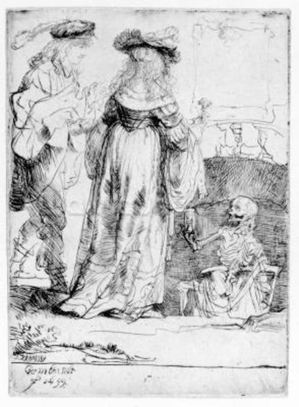Death appearing to a wedded couple from an open grave, 1639 (etching) wall mural