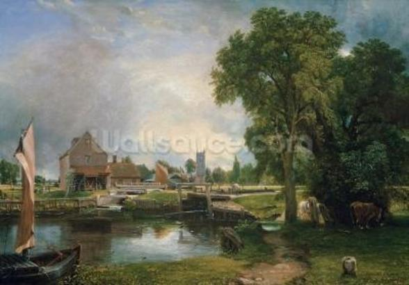 Dedham Lock and Mill, 1820 (oil on canvas) wall mural