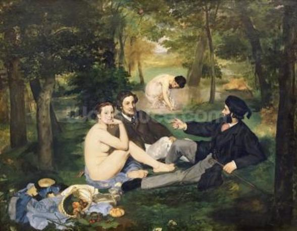 Dejeuner sur lHerbe, 1863 (oil on canvas) (see also 65761) mural wallpaper