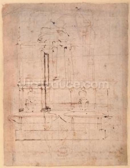 Design for the tomb of Pope Julius II (1453-1513) (brown ink on paper) (verso) wall mural