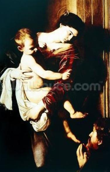 Detail of Madonna of the Pilgrims, c.1603-05 (oil on canvas) wall mural