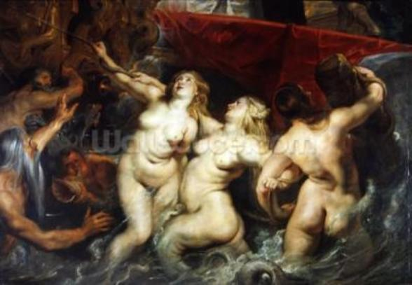 Detail of the Sirens from The Arrival of Marie de Medici in Marseilles, 3rd November 1600, 1621-25 (oil on canvas) (see 2995) wallpaper mural