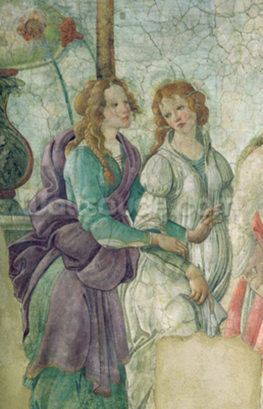 Detail of Venus and the Graces offering gifts to a young girl, 1486 (fresco) (see also 33760) mural wallpaper