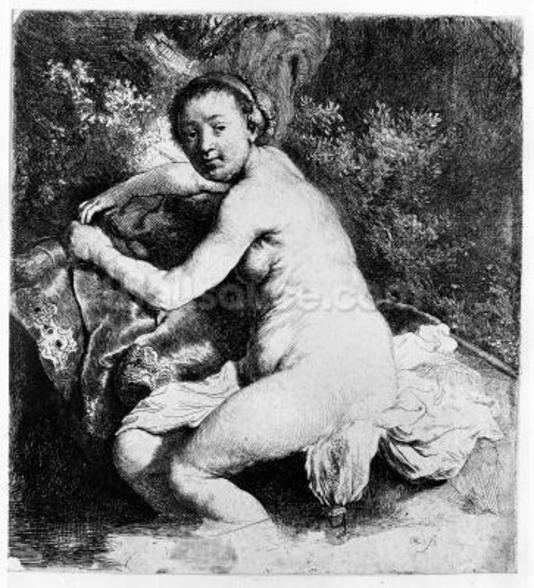 Diana at the bath, c.1631 (etching) mural wallpaper
