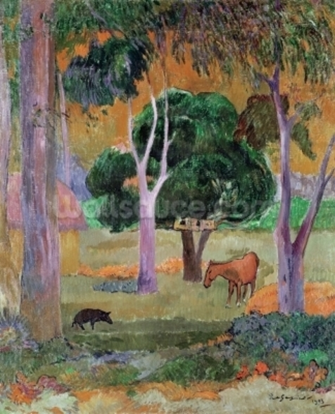 Dominican Landscape or, Landscape with a Pig and Horse, 1903 (oil on canvas) wallpaper mural