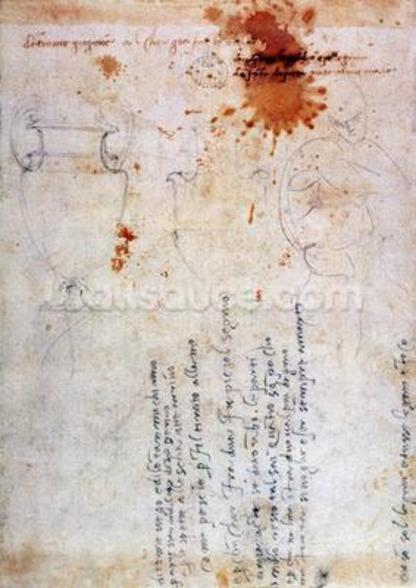 Drawing of an Urn and Figure with Notes (brown ink & pencil on paper) (verso) wallpaper mural