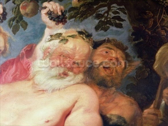 Drunken Silenus Supported by Satyrs, c.1620 (oil on canvas) (detail of 259760) wall mural