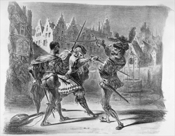 Duel between Faust and Valentine, from Goethes Faust, after 1828, (illustration), (b/w photo of lithograph) wall mural