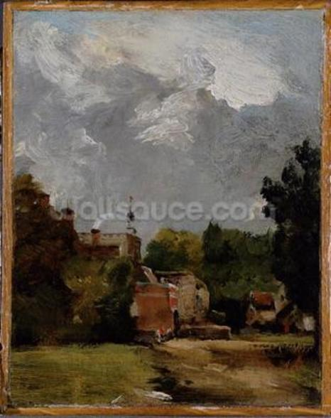 East Bergholt Church from Church Street (oil on paper on panel) wall mural