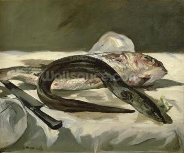 Eel and Red Mullet, 1864 (oil on canvas) wallpaper mural