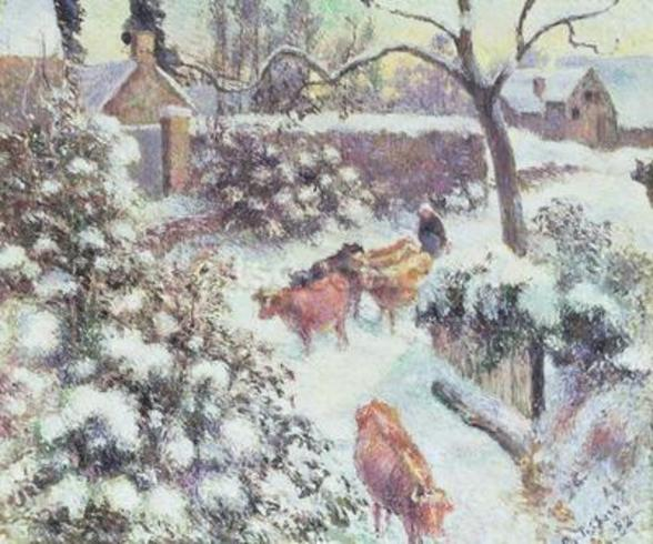 Effet de Neige a Montfoucault, 1882 (oil on canvas) mural wallpaper