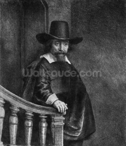 Ephraim Bonus, known as The Jew with the Banister 1647 (etching) (b/w photo) mural wallpaper
