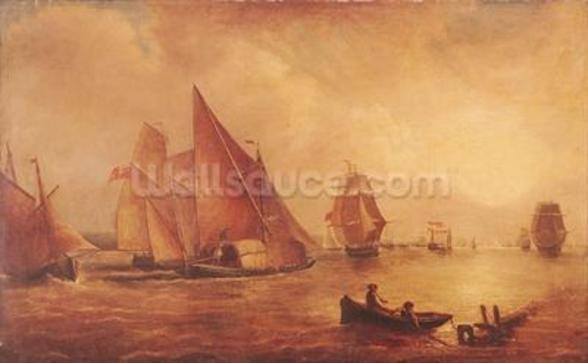 Estuary of the Thames and the Medway (oil on canvas) wall mural