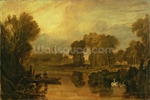 Eton College from the River, or The Thames at Eton, c.1808 wallpaper mural
