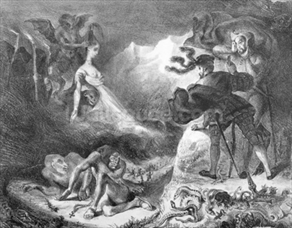 Faust and Mephistopheles at the Witches Sabbath, from Goethes Faust, 1828, (illustration), (b/w photo of lithograph) wall mural