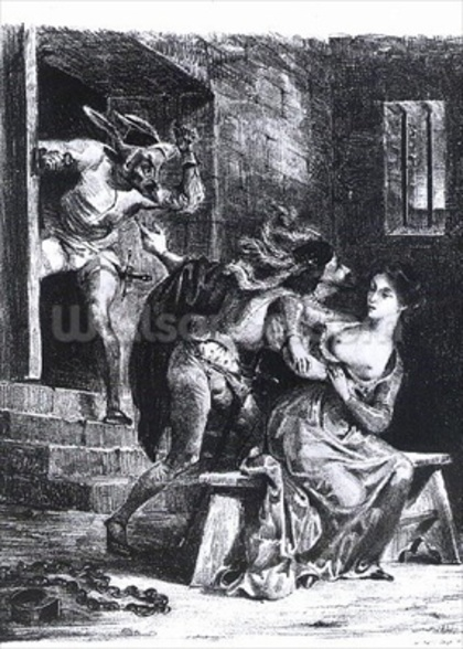 Faust rescues Marguerite from her prison, from Goethes Faust, 1828, (illustration), (b/w photo of litho) wall mural