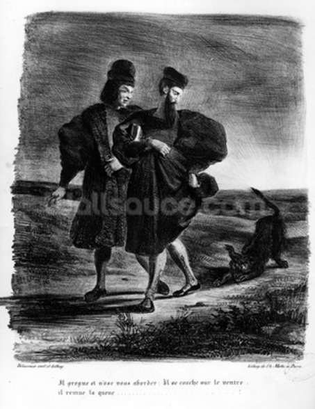 Faust and Wagner, Illustration for Faust by Goethe, 1828 (litho) (b/w photo) wall mural