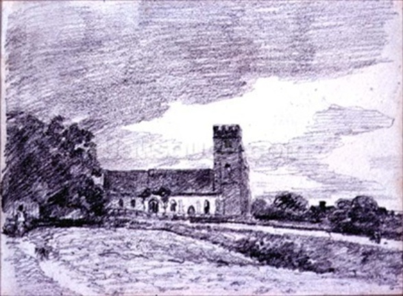 Feering Church, 1814 (drawing) 99;landscape; building; sky; cloud; tree; countryside; wall mural