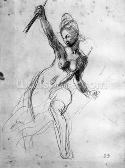 Female Nude, study for Liberty Leading the People (pencil on paper) (b/w photo) wall mural