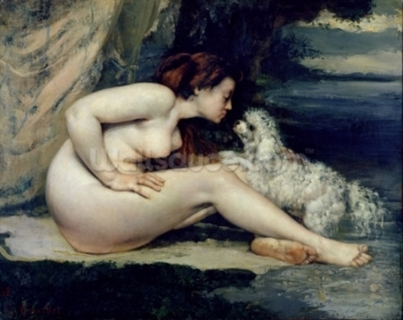 Female Nude with a Dog (Portrait of Leotine Renaude) 1861-62 (oil on canvas) wall mural