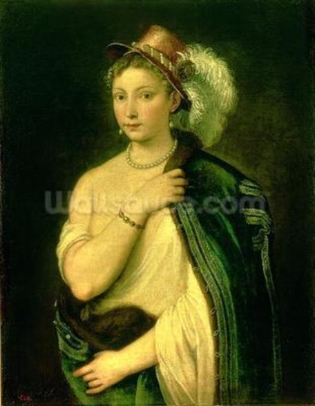 Female Portrait, c.1536 (oil on canvas) wall mural