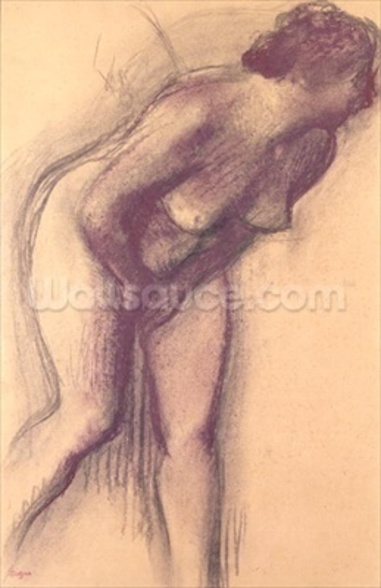 Female Standing Nude (charcoal and pastel) mural wallpaper