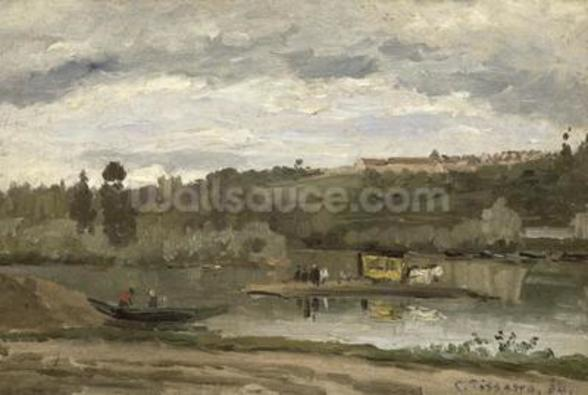Ferry at Varenne-Saint-Hilaire, 1864 (oil on canvas) wallpaper mural