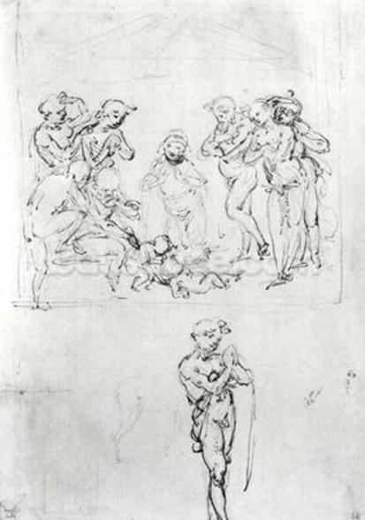 Figural Studies for the Adoration of the Magi, c.1481 (pen & ink and metalpoint on paper) wallpaper mural
