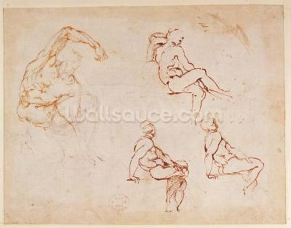 Figure Studies for a Man (brown ink) mural wallpaper